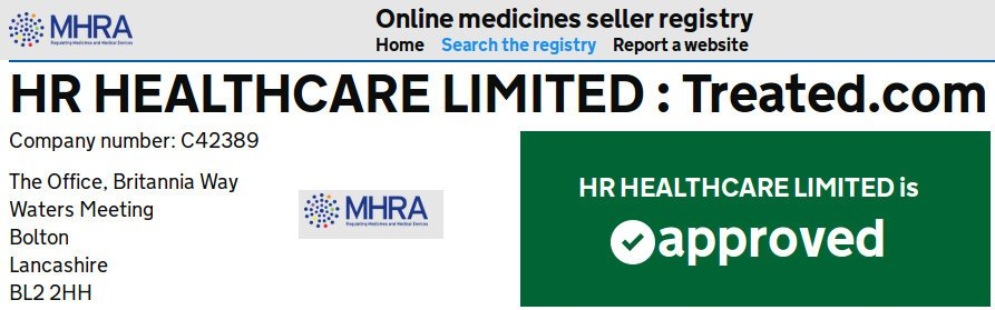 The register authorised online sellers of medicines approved treated.com