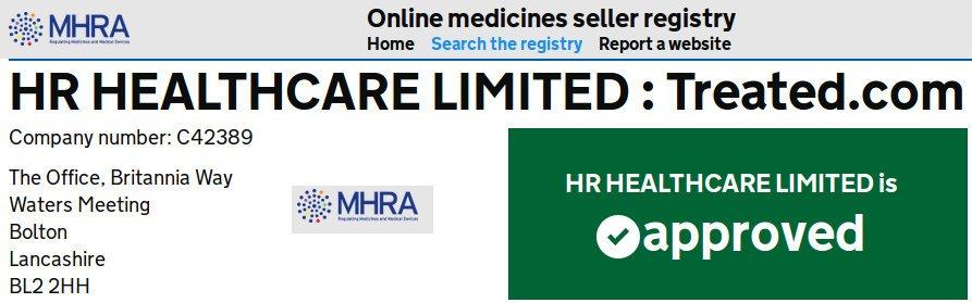 Das Register autorisierte Online-Verkäufer von Arzneimitteln genehmigt Treated.com