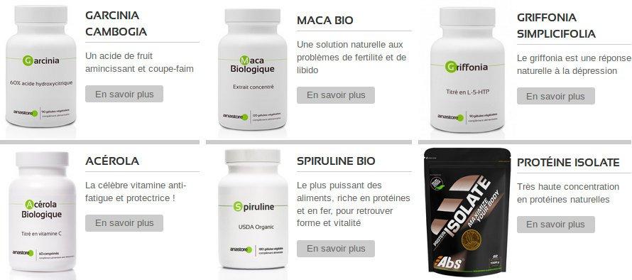 Garcinia Cambogia, Maca Bio, Griffonia Simplicifolia, Acerola ou Spiruline composés d'ingrédients naturels