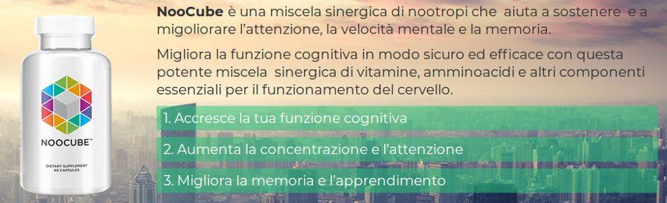 Noocube è una miscela sinergica aiuta a sostenere e a migoliorare l'attenzione, la velocità mentale e la memoria