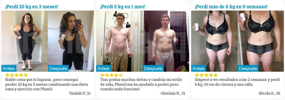 opiniones y comentarios de los clientes: fotos antes / después de usar PhenQ