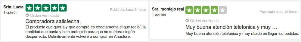 opiniones de los consumidores y testimonios después de su compra en Anastore.com