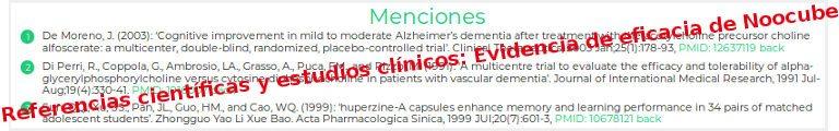 Referencias científicas y estudios clínicos: Evidencia de eficacia de Noocube