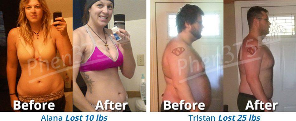 Comentários e resultados com imagens antes / depois dos clientes do phen375