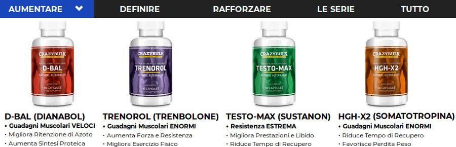 crazybulk testo max, trenorol, hgh x2, anadrole e decaduro aumentano il guadagno muscolare