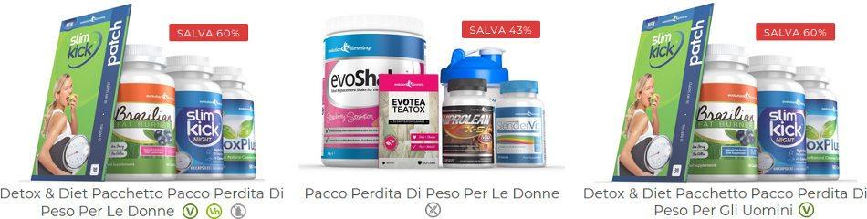 pacchetti di prodotti per risparmiare sul tuo acquisto su evolution-slimming.com