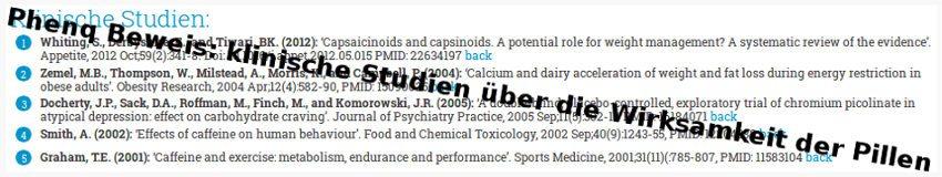 Phenq Beweis: klinische Studien über die Wirksamkeit der Pillen