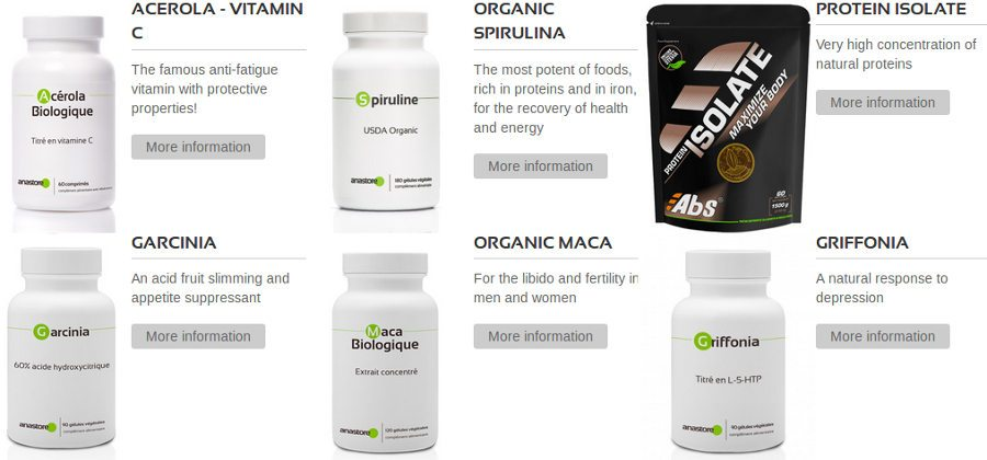 Products available on Anastore: dietary supplements composed of high quality ingredients