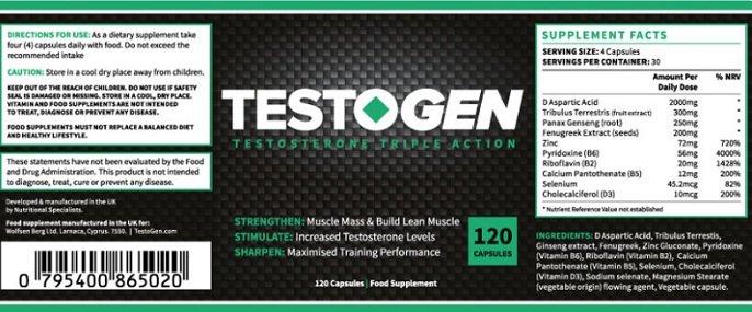Composição Testogen: todos os ingredientes para aumentar sua resistência e energia