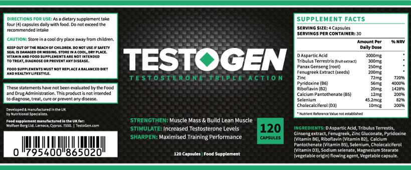 Composición Testogen: todos los ingredientes para aumentar su resistencia y energía
