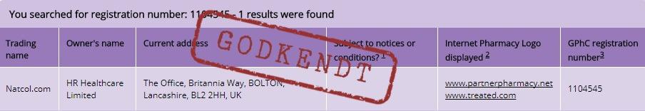 Registreret autoriseret online-forhandlere af lægemidler godkendt Treated.com