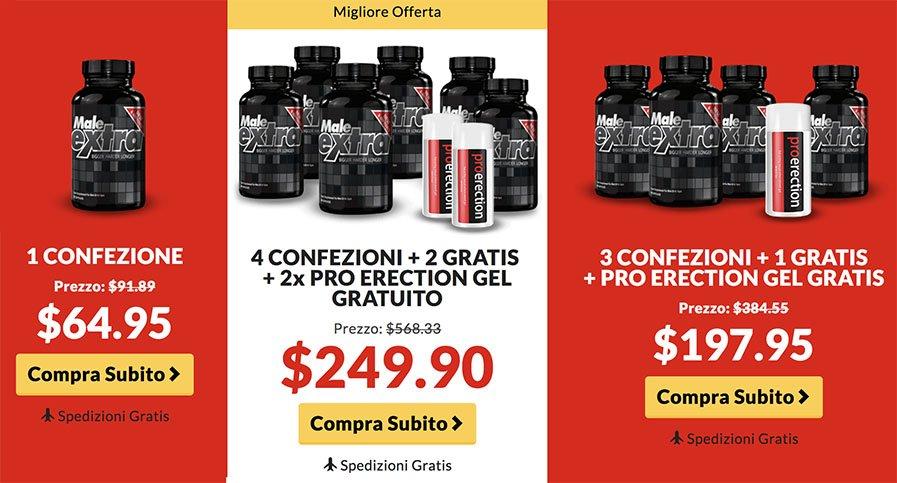 Diversi pacchetti da acquistare in MaleExtra.it per gli spagnoli che vivono in italiano