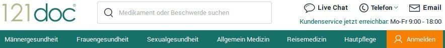 Kaufen Sie in der Online-Apotheke 121Doc in Deutschland und erhalten Sie die besten Preise