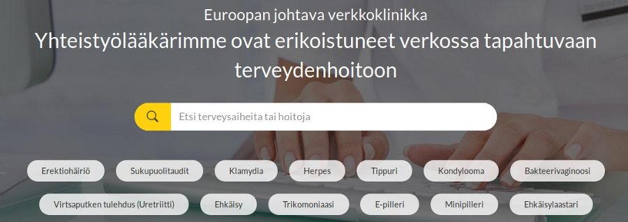 luettelo Euroclinix: n online-terveyssivustosta saatavilla olevista hoidoista ja taudeista